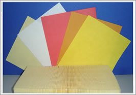 Corrugated filter paper and five plain filter papers