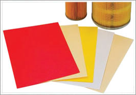 Plain air filter paper in red, yellow, white color
